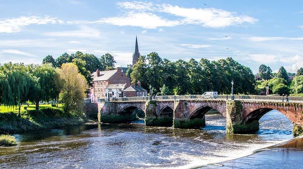 River Dee and Old Dee Bridge in Cheshire