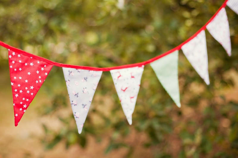 Bunting hung outside in garden